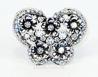 Кольцо массивное фианиты цвет: червленое серебро