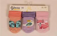 Махровые носочки для новорожденных с тормозами TM BROSS р.6-18 мес (19-21 см))