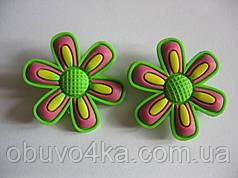Джибитсы (Jibbitz) цветок зел/роз 2 шт