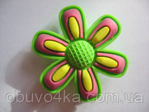 Джибитсы (Jibbitz) цветок зел/роз 2 шт, фото 2