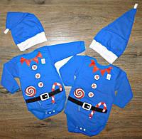 """Детский новогодний костюм, боди с шапкой """"Помощник Санты"""", на байке, рост 80/86 см"""
