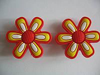 Джибитсы (Jibbitz) цветок оранж/желт