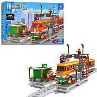 Конструктор AUSINI 2511 поезд, вокзал, фигурки 5шт, 928 деталей. в кор-ке, 64,5-43,5-9см