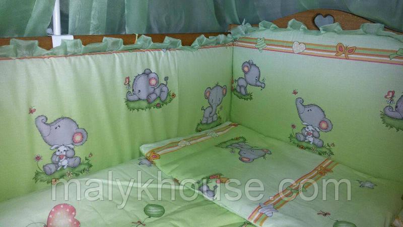 """Постільний комплект із захистом в дитяче ліжечко """"Слоненята"""""""