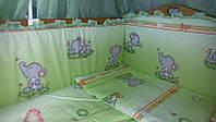 """Постільний комплект із захистом в дитяче ліжечко """"Слоненята"""", фото 1"""