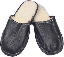 """Тапочки комнатные мужские кожаные """"Полоса"""" Черный 45"""