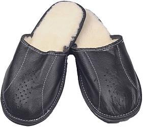 """Тапочки комнатные мужские кожаные """"Полоса"""" Черный 43"""