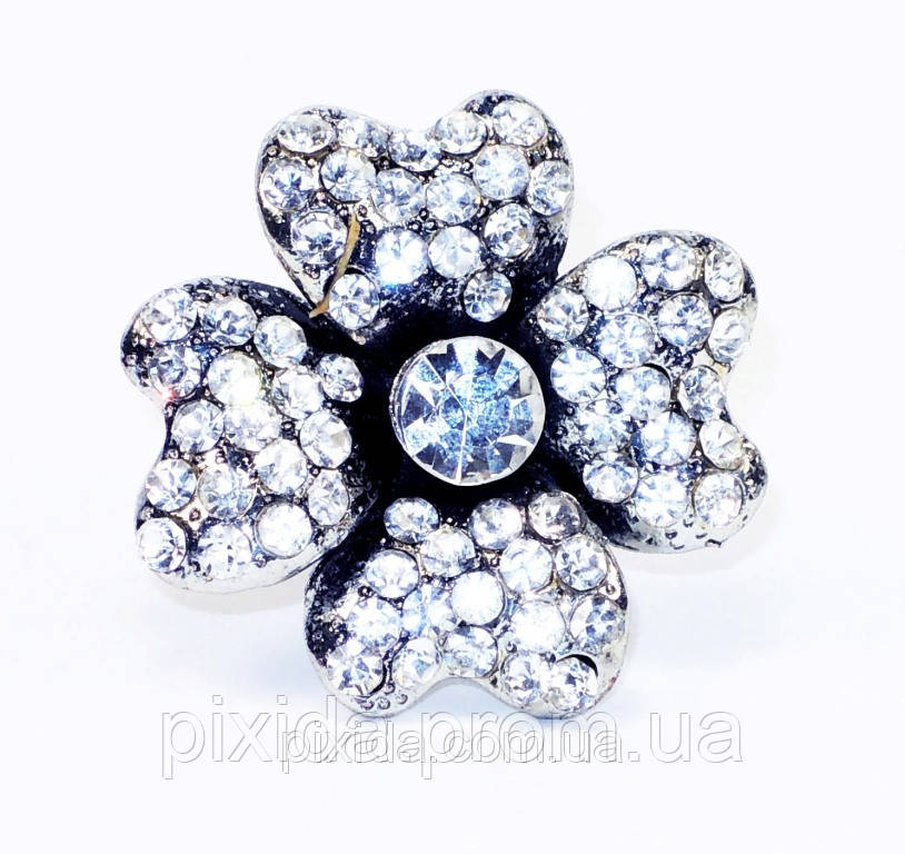 """Кольцо """"Цветок""""фианиты червленое серебро"""