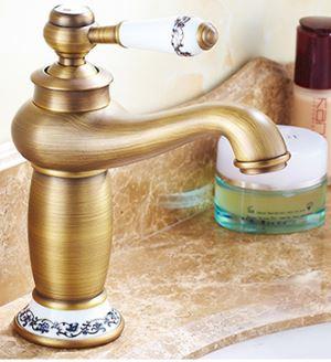Смеситель кран для умывальника в ванную однорукий бронза 0015