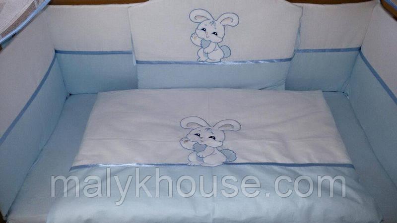 """Защита + постельное белье в детскую кроватку """"Зайка"""""""