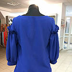 Блуза нарядная женская синяя с воланами и рюшами бл 004-2, фото 8