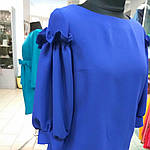 Блуза нарядная женская синяя с воланами и рюшами бл 004-2, фото 9