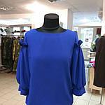 Блуза нарядная женская синяя с воланами и рюшами бл 004-2, фото 6