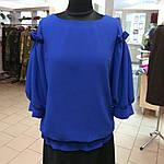 Блуза нарядная женская синяя с воланами и рюшами бл 004-2, фото 7