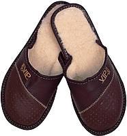 """Тапочки домашние мужские кожаные """"VIP Men"""" коричневые"""