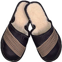 """Тапочки мужские кожаные """"Коричнево-черные"""""""