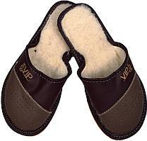"""Тапочки комнатные мужские кожаные """"VIP Men"""" светло коричневые"""