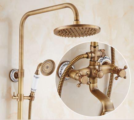 Душевая стойка с верхним душем для ванной комнаты со смесителем краном и лейкой бронза 0185