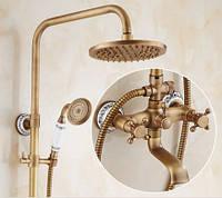 Душевая стойка с верхним душем для ванной комнаты со смесителем краном и лейкой бронза 0185, фото 1