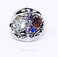 Кольцо перстень широкий фианиты качество