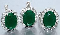"""Набор  """"серьги и кольцо"""",покрытие родием. Камень: белый и зелёный циркон. Высота серьги: 2 см Ширина: 18 мм"""