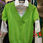 Джемпер зелений в'язаний жилет, фото 7