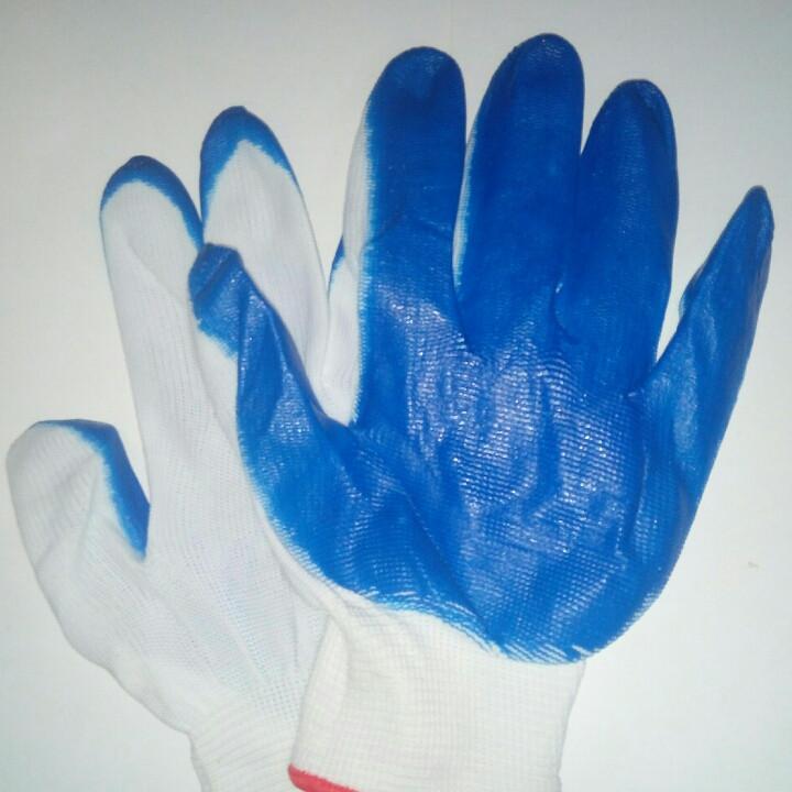 Перчатки хозяйственные, стрейчивые (синяя, оранжевая),12 пар
