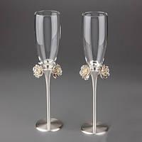"""Свадебные бокалы """"Розы"""" на  металлической ножке, красивые и оригинальные свадебные фужеры"""
