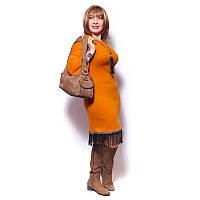 Женское платье большого размера из плотного трикотажа