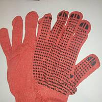 Перчатки хозяйственные, оранжевая, х/б,12пар.