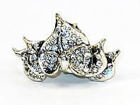 """Кольцо """"Корона"""" фианиты червленое серебр"""
