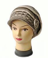 Кепка из шерсти с ангорой женская вязаная Полина цвет бежевый