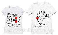 Парные футболки с принтом  Love Story