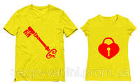 Парные футболки с принтом Ключ / Замок