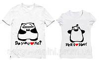"""Парные футболки принтом """"Панды"""" DO YOU LOVE ME ? / YES, I LOVE YOU"""