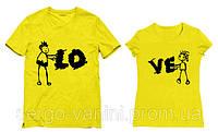 Парные футболки с принтом  LOVE