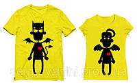 Парные футболки с принтом Чертик и Ангелочек