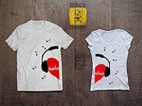 """Парные футболки для двоих с принтом """"Love Muzik"""""""
