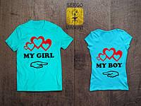 """Парные футболки для двоих """"my girl my boy"""""""
