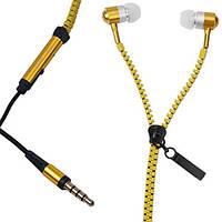 Гарнитура для телефона Zipper Metal с микрофоном и кнопкой ответа, Желтая