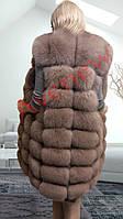 Жилет натуральный  мех песец удлиненный  90 см цвет капучино, фото 1
