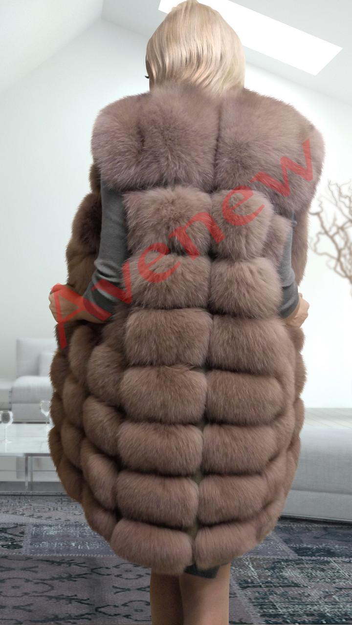 Жилет натуральный  мех песец удлиненный  90 см цвет капучино