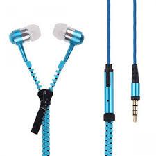 Гарнитура для телефона Zipper Metal с микрофоном и кнопкой ответа, Голубая