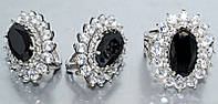 """Набор  """"серьги и кольцо"""",покрытие родием. Камень: белый и чёрный циркон. Высота серьги: 2,7 см Ширина: 20 мм"""