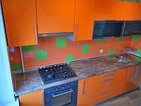 Кухня прямая оранжевый глянец мдф