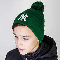 Брендовая шапка New York для мальчика с помпоном в розницу - Артикул 2837