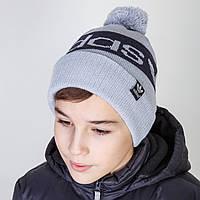 Брендовая зимняя шапка для мальчика Adidas с помпоном в розницу - Артикул 2833