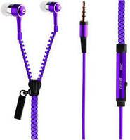 Гарнитура для телефона Zipper Metal с микрофоном и кнопкой ответа, Фиолетовая