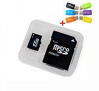 Карта памяти MicroSD 8 гб 4 class+SD переходник