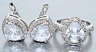 """Набор  """"серьги и кольцо"""",покрытие родием. Камень:белый циркон. Высота серьги: 1,5 см Ширина: 13 мм 18"""